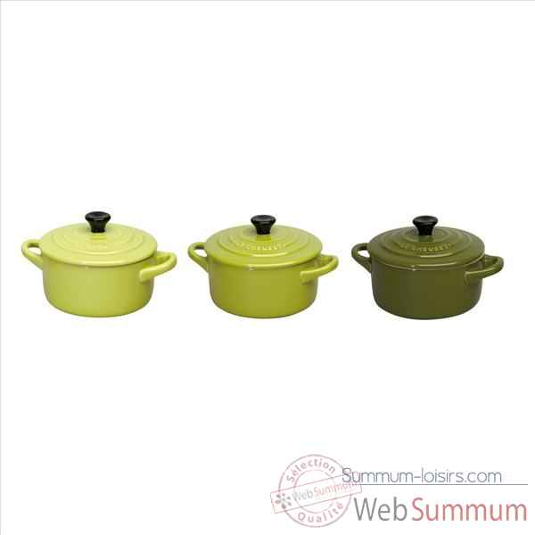 "Le creuset lot de 3 mini cocottes ""green"" 1899"
