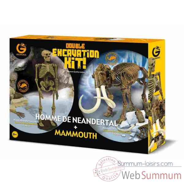 Gw dino excav kit pack duo - homme neandertal(21cm) & mammouth(26cm) Geoworld -CL662K