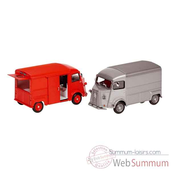 Lot de 2 camion citroen type h en metal 1:24 Goki -12205