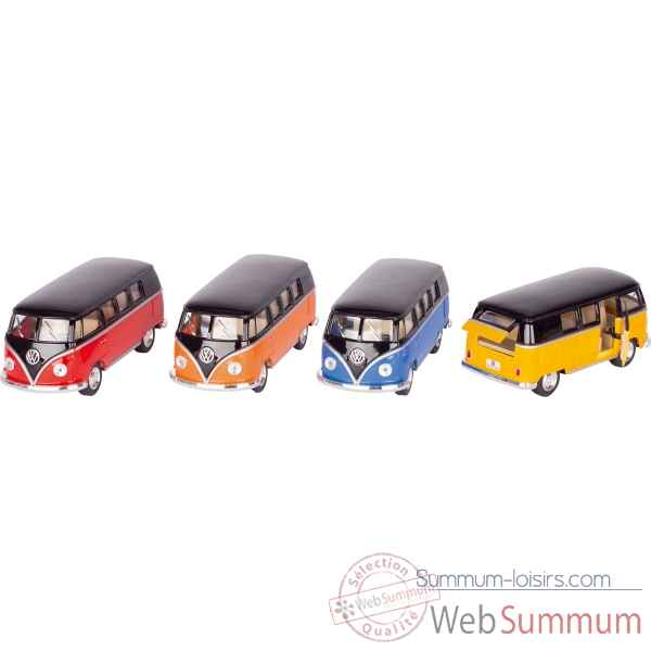 Lot de 4 combi bus en metal volkswagen classical (1962) 1:32 a retrofriction Goki -12235
