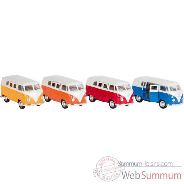 Lot de 4 combi en metal volkswagen vw bus 1:37 rouge, jaune, orange et bleu, avec retrofriction, Goki -PF976