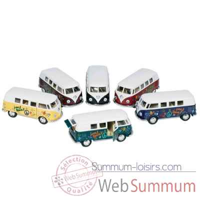 Lot de 4 combi en metal vw volkswagen classical bus (1962) 1:32 a retrofriction Goki -12072