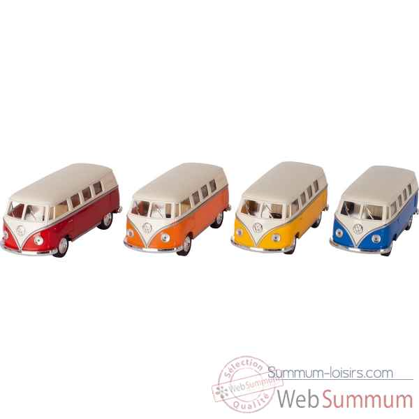 Lot de 4 combi en metal vw volkswagen classical bus (1962) 1:32 a retrofriction Goki -12234