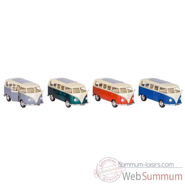 Lot de 4 combi vw volkswagen bus t1 1:31 a retrofriction en metal Goki -12223