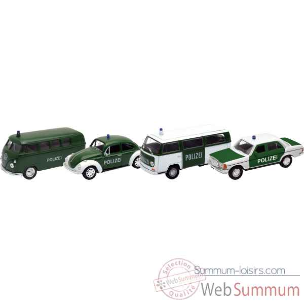 Lot de 4 vehicules police en metal 1:34-39 Goki -12251