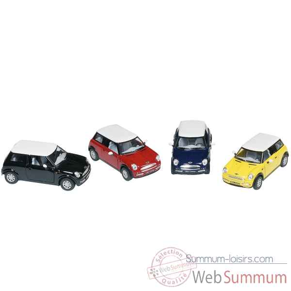 Lot de 4 voiture en metal mini cooper 1:28 retrofriction Goki -PF504
