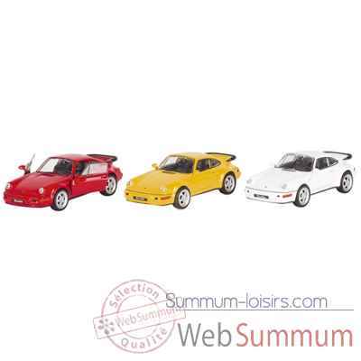Lot de 3 voiture en metal porsche 964 turbo 1:37 blanc, rouge et jaune, a retrofriction Goki -12185