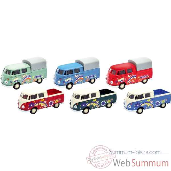 Lot de 6 voiture en metal volkswagen t1 doka pick-up 1:34-39 Goki -12252