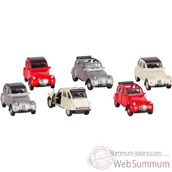 Lot de 6 voiture metal citroen 2cv 1:34-39 a retrofriction Goki -12180