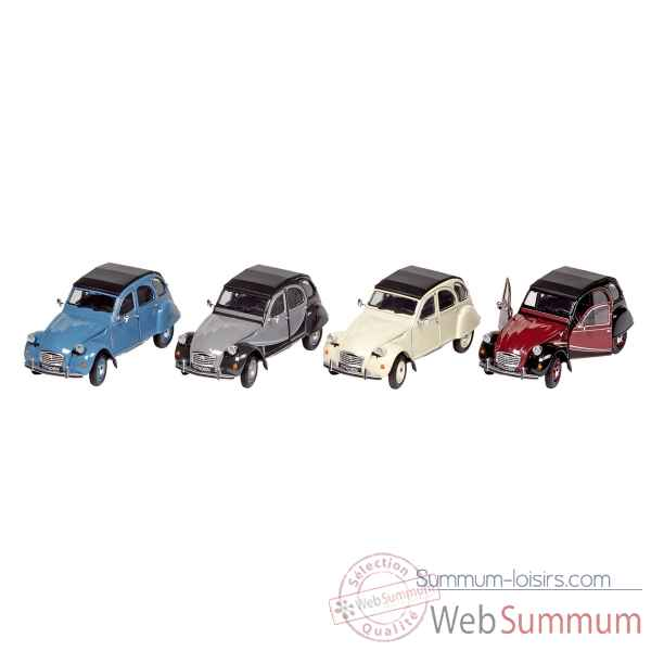 Lot de 4 voitures citroen 2cv 6 charleston 1:24 a retrofriction, en metal Goki -12182