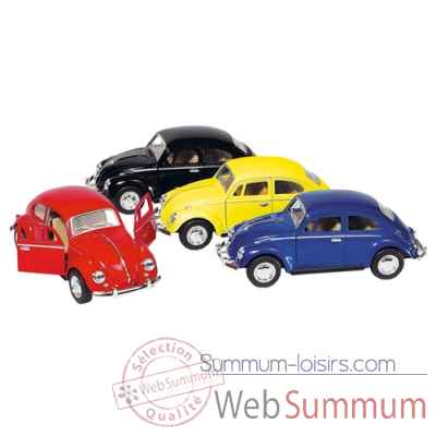 Lot de 4 voitures coccinelle vw classical beetle (1967) 1:32 a retrofriction en metal Goki -12060