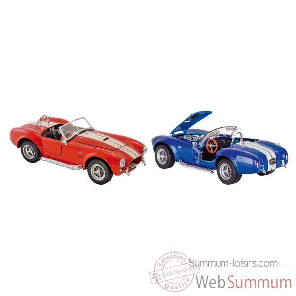 Lot de 2 voitures en metal shelby cobra 427 s/c 1965 1:24 a retrofriction Goki -12229