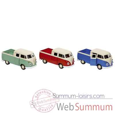 Lot de 3 volkswagen t1 doka pick-up 1:38 en metal, vert, rouge et bleu, a retrofriction Goki -12186