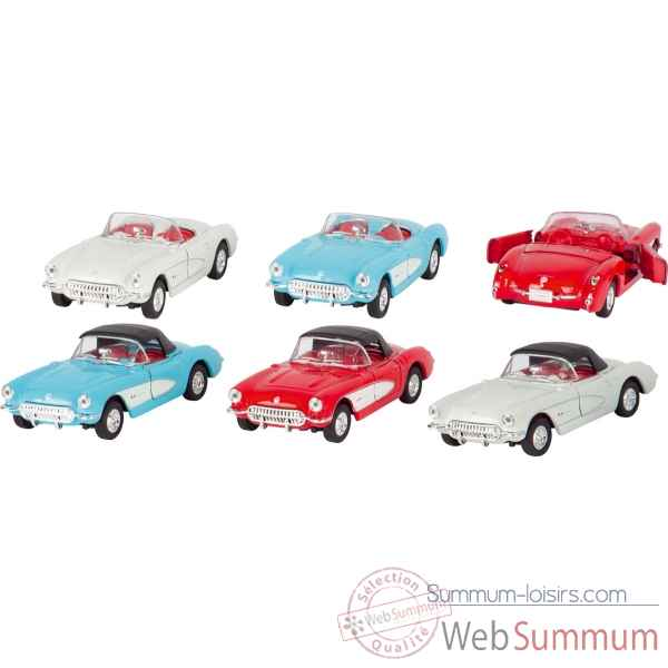 Lot 6 voitures chevrolet corvette (1957) 1:34-39 en metal a retrofriction Goki -12198
