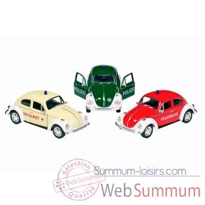 Lot voitures metal volkswagen coccinelle 1:34-39 amulance, police, pompiers, a retrofriction Goki -12157