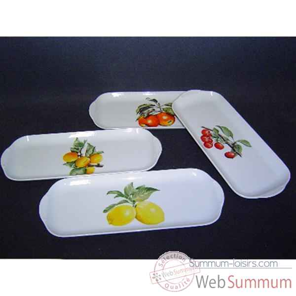 Philippe deshoulieres lot de 4 plats a  cake porcelaine decor  fruits 910107