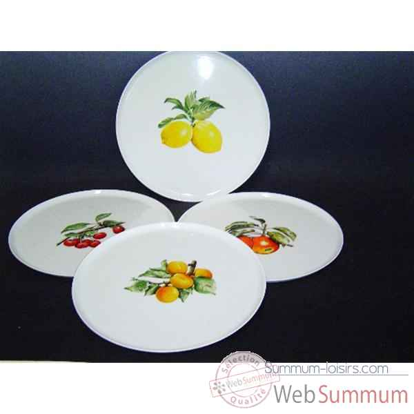 Philippe deshoulieres lot de 4 plats a tarte porcelaine decor  fruits 910106