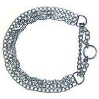 Collier 1/2 etrangleur chrome 3 rangs l.65 cm Sellerie Canine Vendeenne 20965