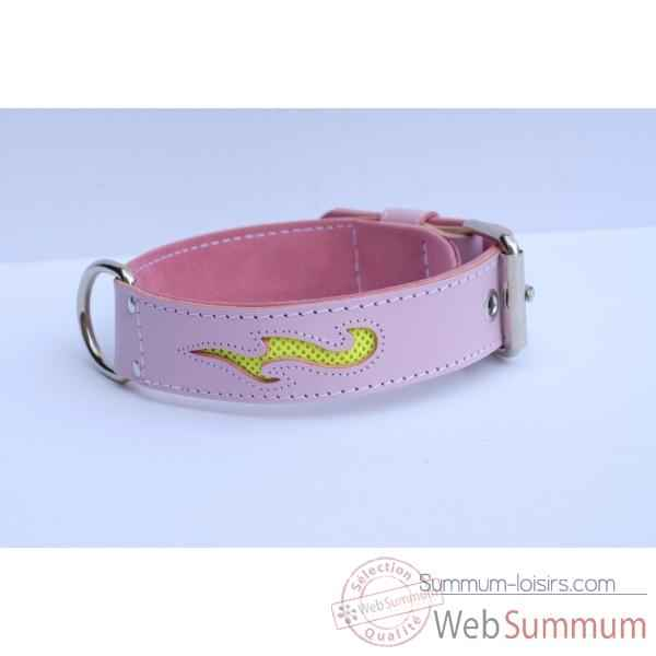 "Collier cuir class ""fun""  dble nubuck 45 mm l. 60-70cm Sellerie Canine Vendeenne 82536"