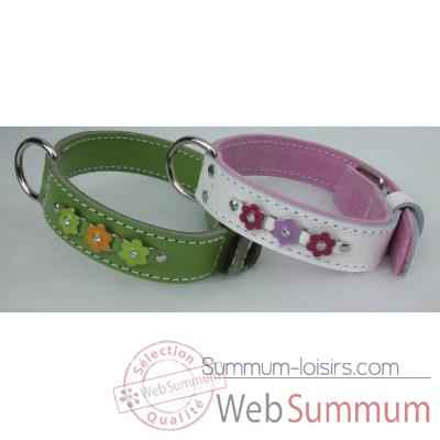 Collier cuir classique dble cuir 31mm l. 45-50-55 cm-fleurs strass Sellerie Canine Vendeenne 82526