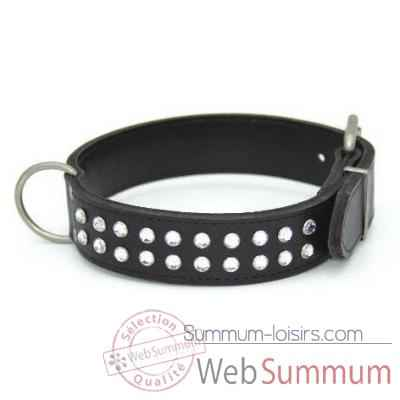 Collier cuir pl. fleur dble 35mm l.50-55-60cm-2 rgs strass Sellerie Canine Vendeenne 83531