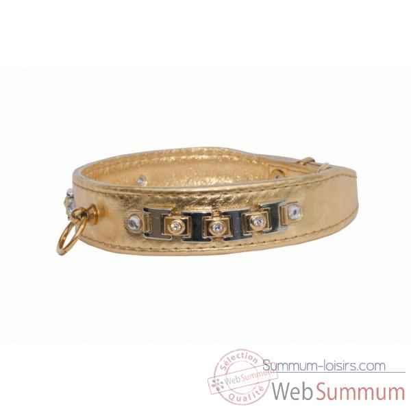 Collier cuir veau or 30mm l. 48 cm - barrette pierres et strass Sellerie Canine Vendeenne 31575