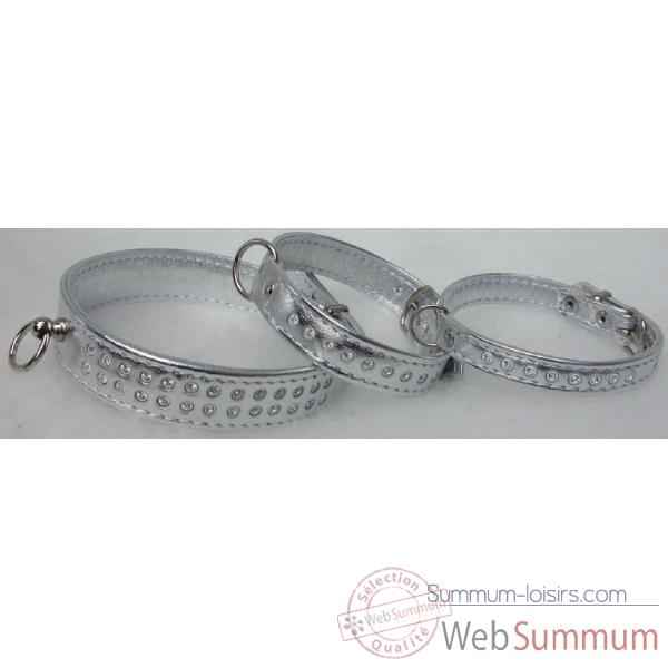 Collier cuir veau glace argent double 16 mm l. 28cm a strass Sellerie Canine Vendeenne 31513