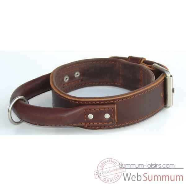 Collier inter cuir dble cuir 43mm l.60-65cm-poignee ronde Sellerie Canine Vendeenne 83610