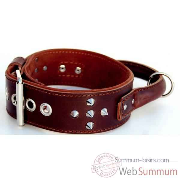 Collier inter cuir dble nubuck 58mm l.60-65cm-clous ogives poignee ro Sellerie Canine Vendeenne 83980