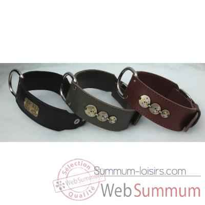 Collier terrier cuir classique dble cuir 58mm l.65-70-75cm- 3 cercles Sellerie Canine Vendeenne 82541