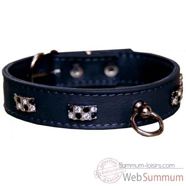 Collier terrier cuir facon agneau 22mm l.37cm-barrette pierres strass Sellerie Canine Vendeenne 35682