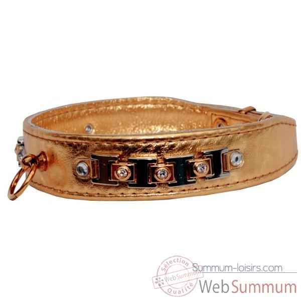 Collier terrier cuir veau glace or 30mm l. 48cm-bracelet strass Sellerie Canine Vendeenne 31577