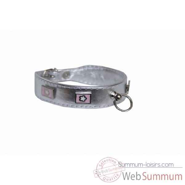 Collier terrier cuir veau glace argent 30mm l. 48cm- rectangle fleuri Sellerie Canine Vendeenne 31558