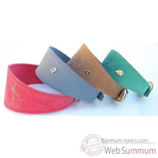 Collier whippet nubuck dble nubuck l. 30 cm- boucl doree Sellerie Canine Vendeenne 31430