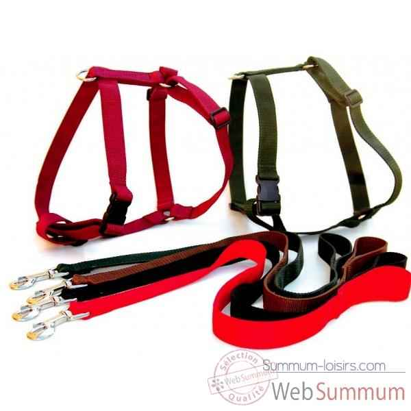 Harnais reglable sangle unie doublee 30 mm l. 65-80 cm Sellerie Canine Vendeenne 54905