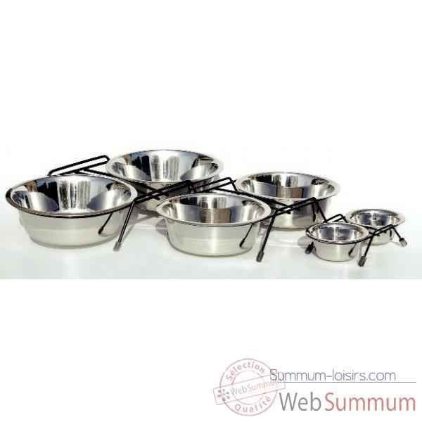 Support de 2 gamelles inox 21 cms Sellerie Canine Vendeenne 16123