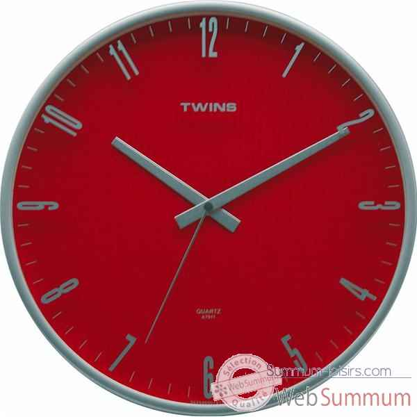 Twins pendule ronde 31 cm rouge 3244